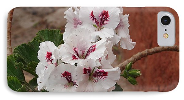 IPhone Case featuring the photograph White And Red Geraniums by Lew Davis