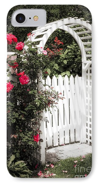 White Arbor With Red Roses IPhone Case