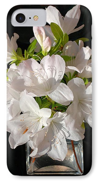 White Azalea Bouquet In Glass Vase Phone Case by Connie Fox