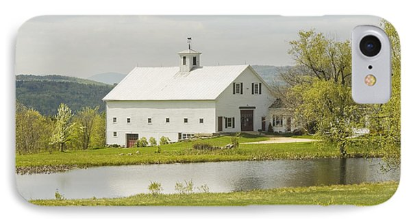 White Barn On Farm In Maine Fine Art Prints IPhone Case by Keith Webber Jr