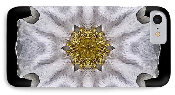 White Beach Rose I Flower Mandala IPhone Case by David J Bookbinder