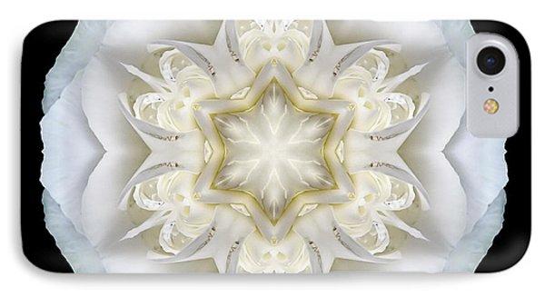 White Begonia II Flower Mandala IPhone Case by David J Bookbinder