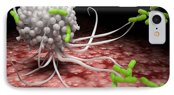 White Blood Cell Attacking Pathogens Phone Case by David Marchal