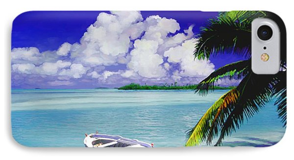 White Boat On A Tropical Island IPhone Case by David  Van Hulst