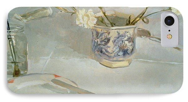 White Carnations In January Oil On Canvas IPhone Case