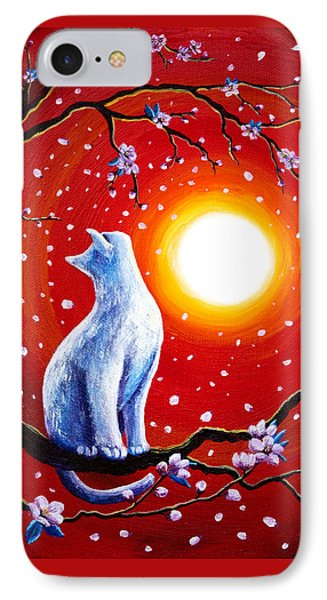 White Cat In Bright Sunset Phone Case by Laura Iverson