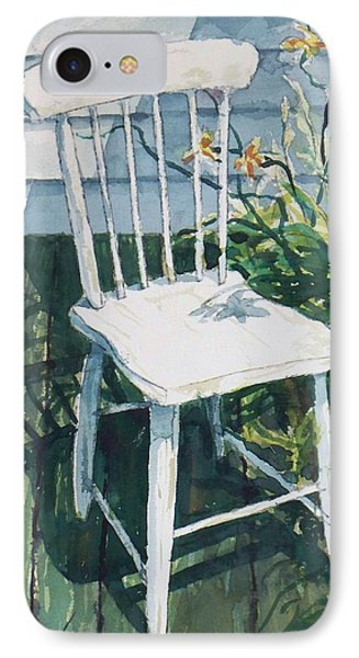 IPhone Case featuring the painting White Chair And Day Lilies by Joy Nichols