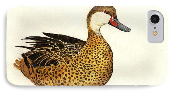 White Cheeked Pintail IPhone Case by Juan  Bosco