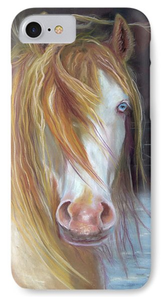 IPhone Case featuring the painting White Chocolate Stallion by Karen Kennedy Chatham