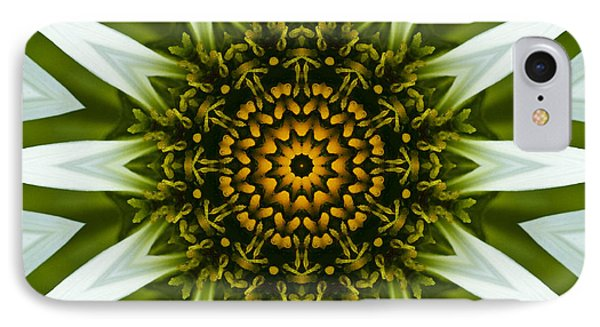 White Coneflower Mandala 12 IPhone Case by Carrie Cranwill