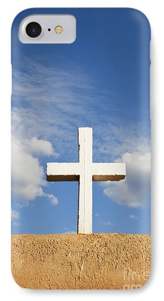 White Cross On Adobe Wall IPhone Case