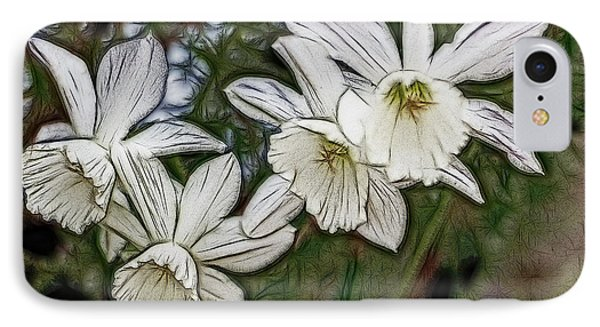 White Daffodil Flowers IPhone Case by Photographic Art by Russel Ray Photos
