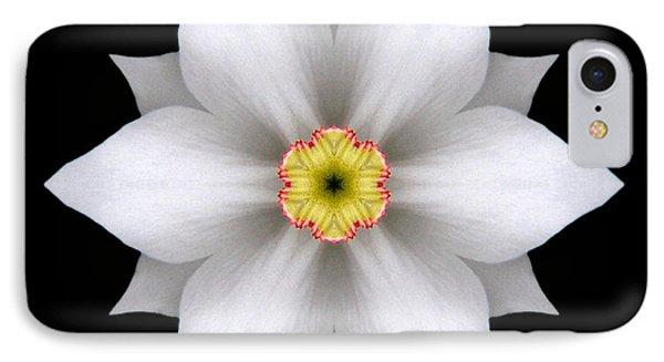 White Daffodil II Flower Mandala Phone Case by David J Bookbinder