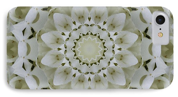 White Floral Mandala 4 IPhone Case by Carrie Cranwill