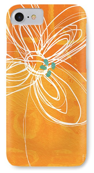 White Flower On Orange IPhone Case by Linda Woods