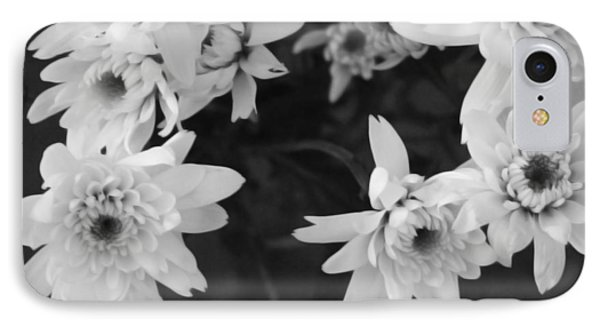 White Flowers- Black And White Photography IPhone Case by Linda Woods