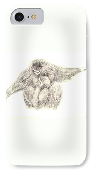 White Handed Gibbons--mother And Son Phone Case by Jingfen Hwu