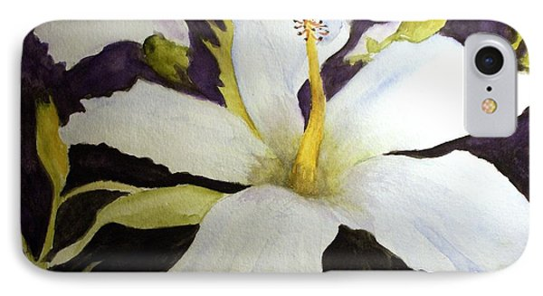 White Hibiscus IPhone Case by Carol Grimes