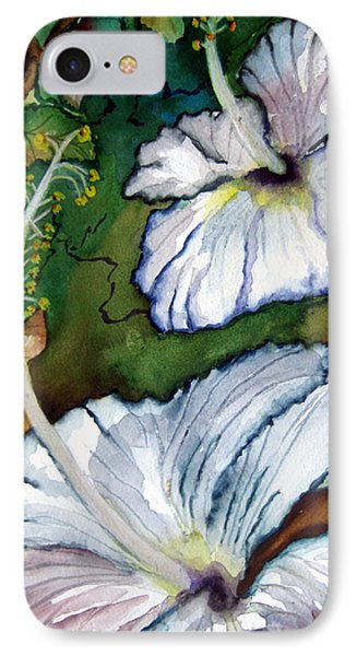 IPhone Case featuring the painting White Hibiscus by Lil Taylor