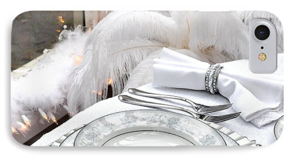 White Holiday Table IPhone Case by Tanya  Searcy