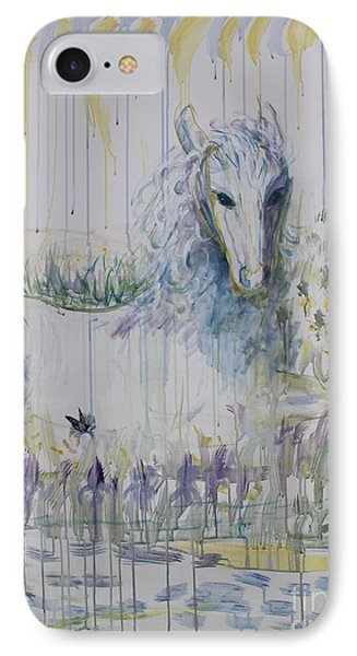 IPhone Case featuring the painting White Horse In The Rain by Avonelle Kelsey