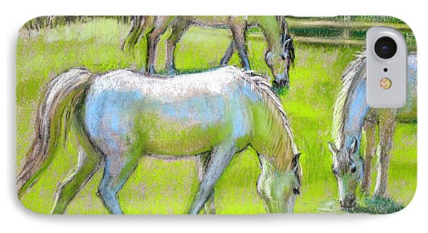 IPhone Case featuring the painting White Horses Grazing by Sue Halstenberg