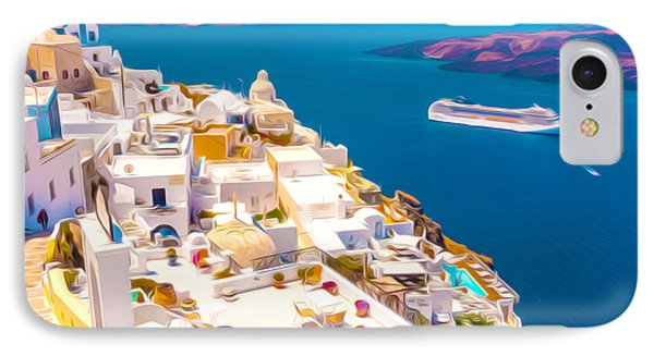 White Houses Of Santorini IPhone Case by Lanjee Chee