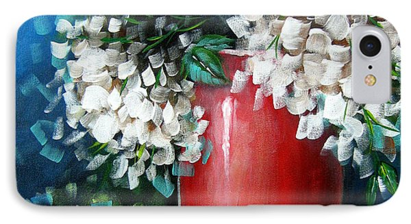 IPhone Case featuring the painting White Hydrangeas by Patrice Torrillo
