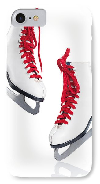 White Ice Skates With Red Laces IPhone Case by Oleksiy Maksymenko