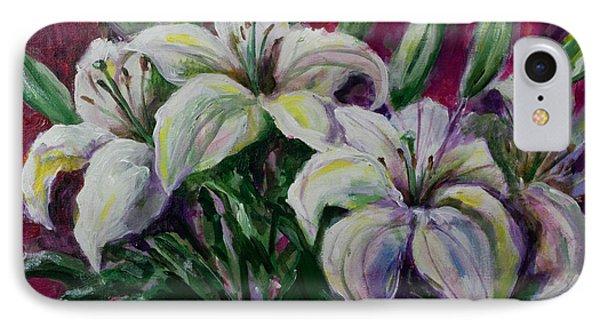 White Lilies IPhone Case by Maxim Komissarchik