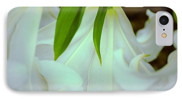 IPhone Case featuring the photograph White Lily Bows  by Beth Akerman