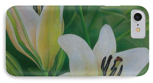 IPhone Case featuring the painting White Lily by Pamela Clements
