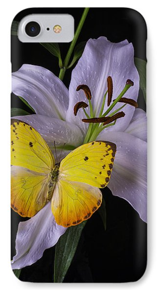 White Lily With Yellow Butterfly IPhone Case by Garry Gay