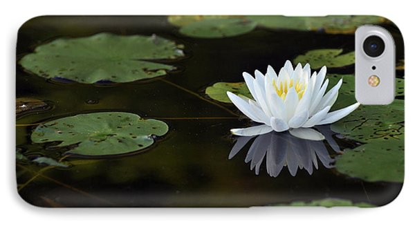 IPhone Case featuring the photograph White Lotus Lily Flower And Lily Pad by Glenn Gordon