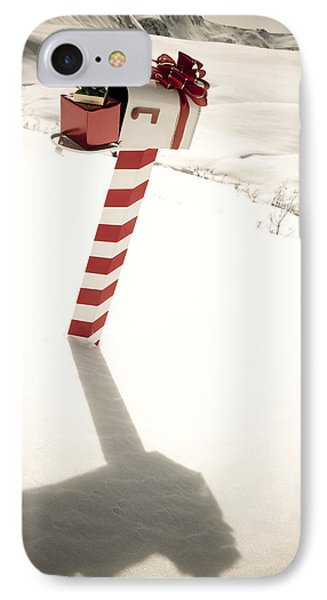 White Mailbox Decorated For Christmas IPhone Case by Kevin Smith