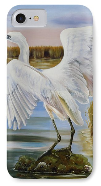 White Morph Reddish Egret At Creole Gap IPhone Case by Phyllis Beiser