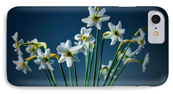 White Narcissus On A Dark Blue Background IPhone Case