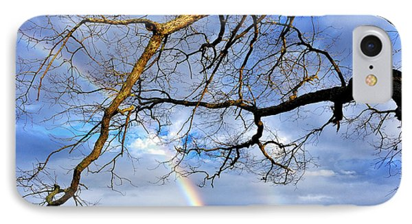 White Oak And Double Rainbow Phone Case by Thomas R Fletcher