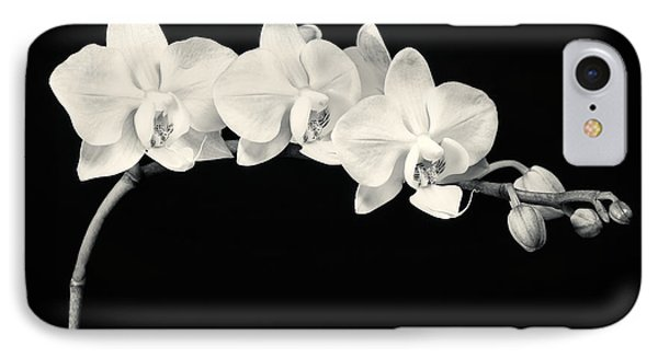 White Orchids Monochrome IPhone Case by Adam Romanowicz