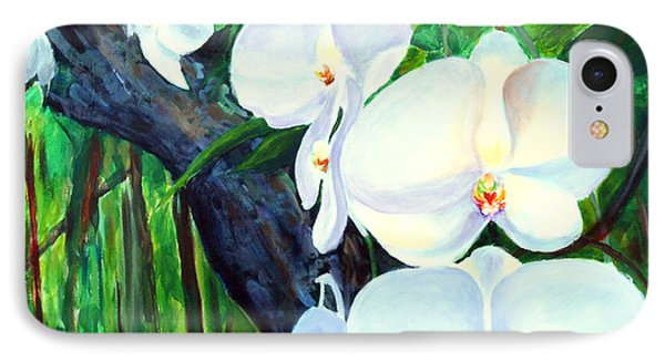 IPhone Case featuring the painting White Orchid's by Nancy Czejkowski