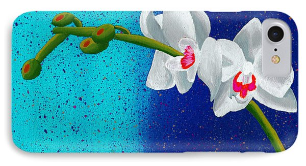 IPhone Case featuring the painting White Orchids On Blue by Laura Forde
