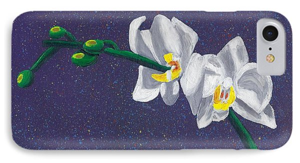 IPhone Case featuring the painting White Orchids On Dark Blue by Laura Forde