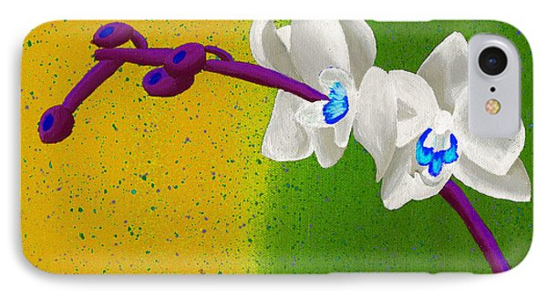 IPhone Case featuring the painting White Orchids On Yellow And Green by Laura Forde