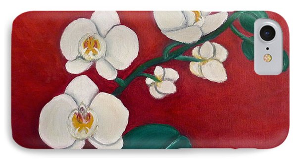 IPhone Case featuring the painting White Orchids by Victoria Lakes