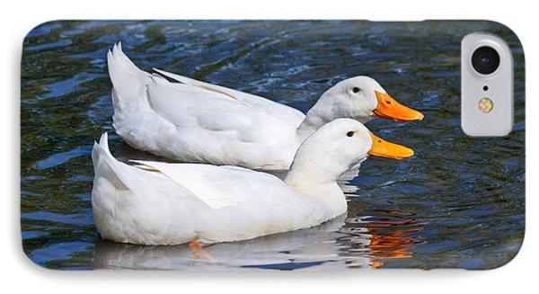 White Pekin Ducks #2 IPhone Case by Ann Murphy