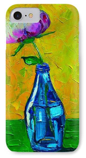 White Peony Into A Blue Bottle Phone Case by Ana Maria Edulescu