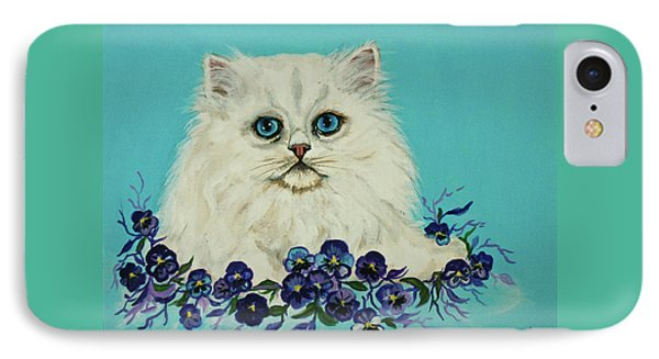 IPhone Case featuring the painting White Persian In Pansy Patch Original Forsale by Bob and Nadine Johnston