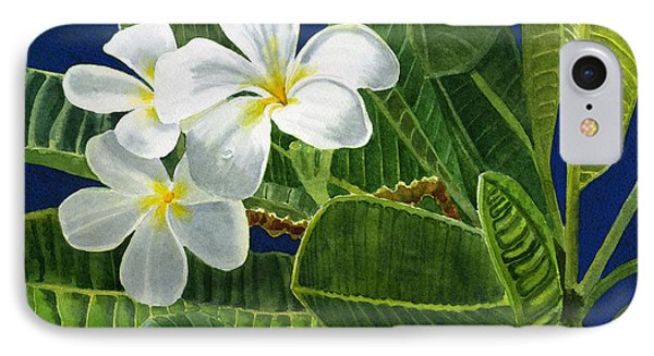 White Plumeria Flowers With Blue Background IPhone Case