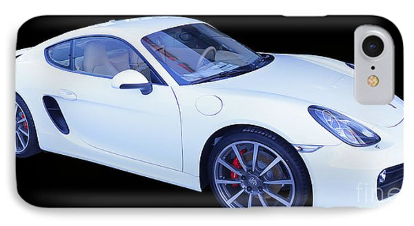 White Porsche Cayman S IPhone Case by Robert Loe