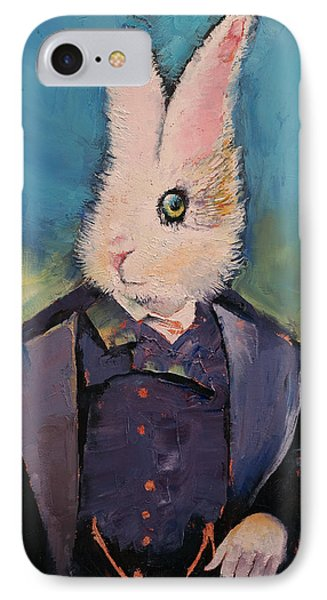 White Rabbit IPhone Case by Michael Creese